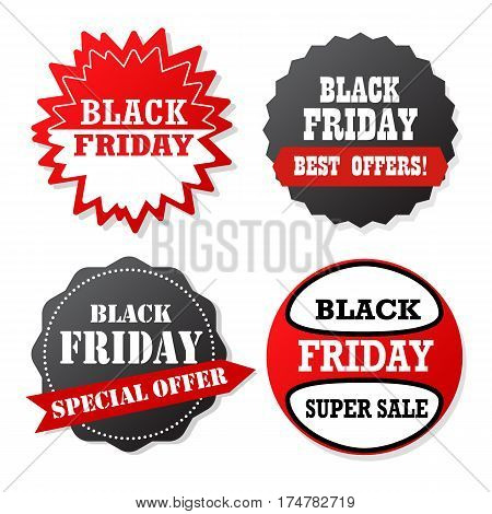 Sale Banner Design. Collection Of Black Friday  Colored Banners For Promotion, Advertising And Sales