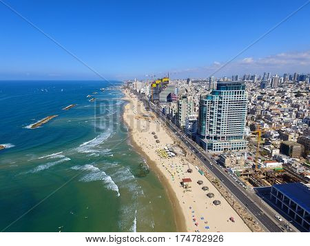 Tel Aviv Coastline, Over the mediterranean sea - Aerial image