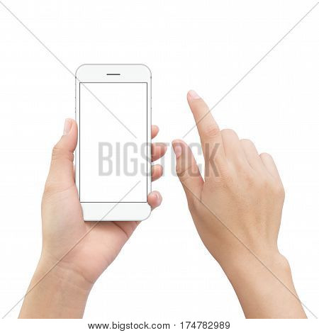 close-up hand holding smartphone mobile and hand element touch screen isolated on white clipping path inside
