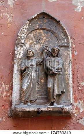 ROME, ITALY - SEPTEMBER 03: Ecce Homo, bass relief in Basilica of Saint Sylvester the First (San Silvestro in Capite) in Rome, Italy on September 03, 2016.