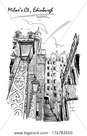 Milne's court passageway. Edinburgh, Scotland, the UK. Urban sketch series. Ink or engraving style sketch isolated on white background. Editable EPS10 vector illustration.