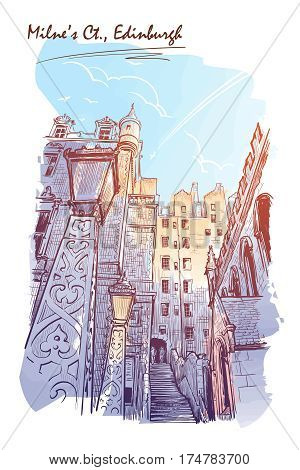Milne's court passageway. Edinburgh, Scotland, the UK. Urban sketch series. Watercolor imitating painted sketch. EPS10 vector illustration.