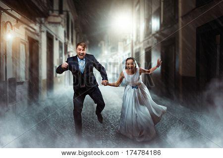 Love couple wedding, night photo shoot