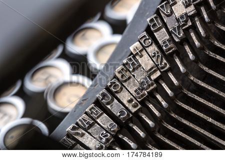 Vintage typewriter mechanism closeup image