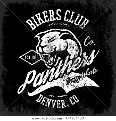 Vintage American furious panther bikers club tee print vector design isolated on dark background.  Colorado, Denver street wear t-shirt emblem. Premium quality wild animal superior logo concept illustration.