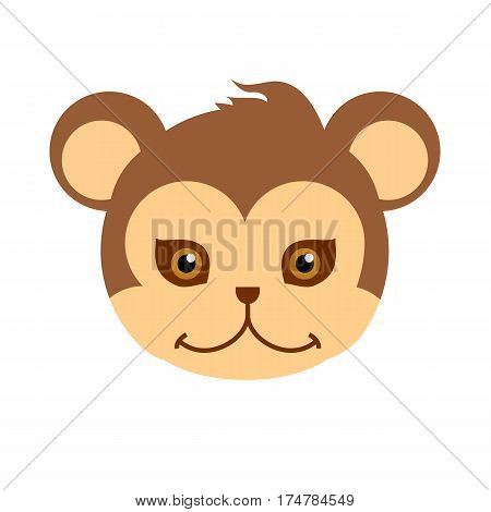 Monkey animal carnival mask vector illustration in flat style. Brown primate ape babbon. Funny childish masquerade mask isolated on white. New Year masque for festivals, holiday dress code for kids