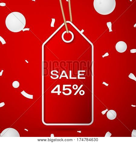 Red pennant with an inscription Big Sale forty five percent Discounts over a red background and confetti. Sale concept for shops store market, web and other commerce. Vector illustration