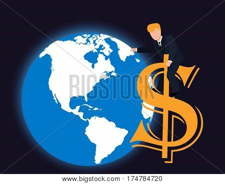 Rich man vector.Business rules the world..Businessman hands carrying world..Man playing globe.