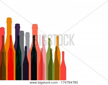 .Bottle of alcohol.Glasses alcohol background.Design for Party.Alcoholic Bottles vector.Wine background.Cocktail Party.Wine List Design.Template for Menu Card.Suitable for Poster.Card with Glasses..