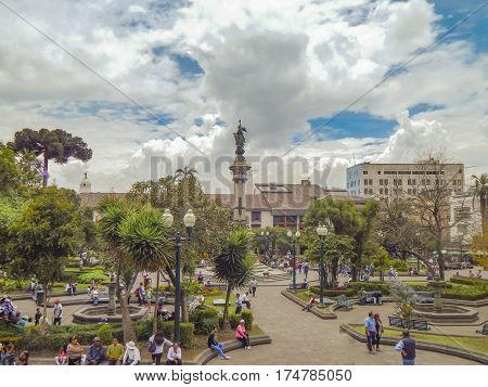 QUITO, ECUADOR, OCTOBER - 2015 - High angle view from carondelet palace of Independence square at the historic center of Quito in Ecuador.