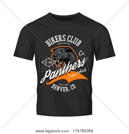 Vintage American furious panther bikers club tee print vector design isolated on black t-shirt mockup.   Colorado, Denver street wear t-shirt emblem. Premium quality wild animal superior logo concept illustration