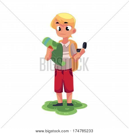 Teenage Caucasian boy with a backpack studying map, holding compass, camping, hiking concept, cartoon vector illustration isolated on white background. Boy scout, tourist with map and compass