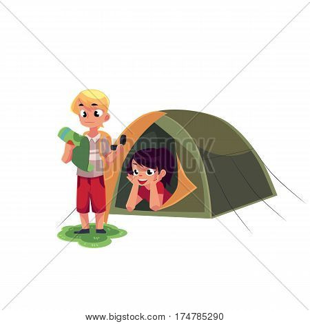 Camping kids - boy studying map with compass and girl looking out of tent, cartoon vector illustration isolated on white background. Kids camping, hiking, orienting, studying map and lying in tent