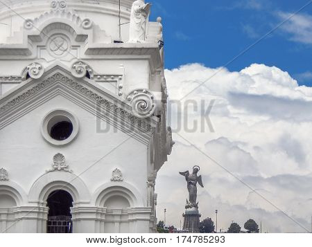 Detail view of one of the towers of the metropolitan cathedral at the historic center of Quito in Ecuador.