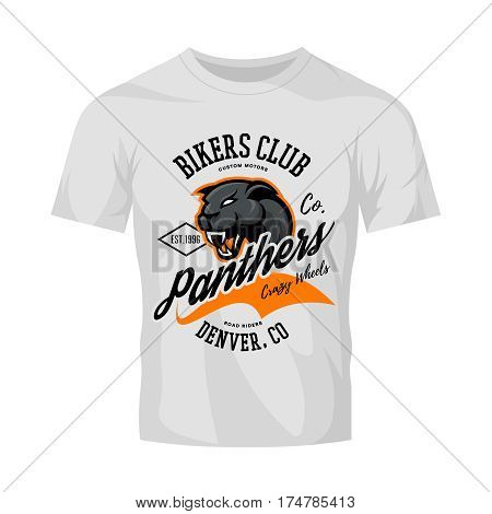 Vintage American furious panther bikers club tee print vector design isolated on white t-shirt mockup.   Colorado, Denver street wear t-shirt emblem. Premium quality wild animal superior logo concept illustration.