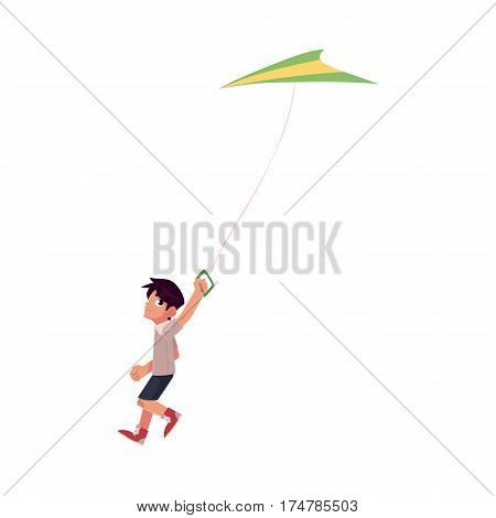 Teenage boy running with colorful kite flying in the sky, cartoon vector illustration isolated on white background. Little teen boy running with a kite, summer outdoor activity