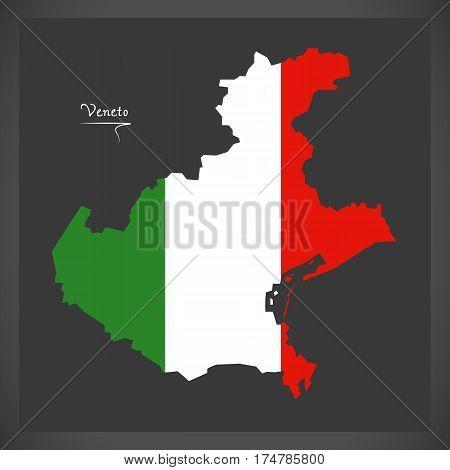 Veneto Map With Italian National Flag Illustration