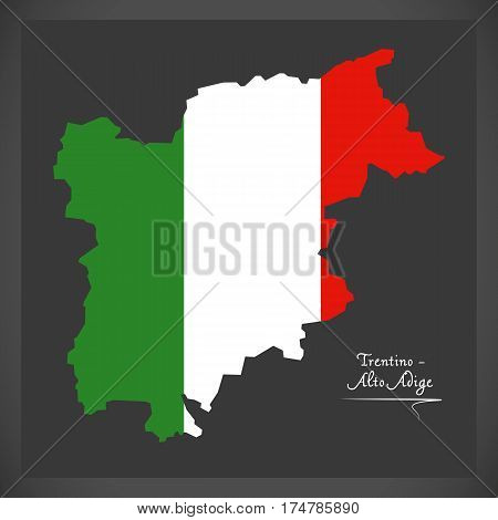 Trentino-alto Adige Map With Italian National Flag Illustration
