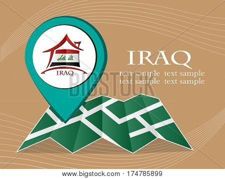 map with pointer flag Iraq vector illustration eps 10.