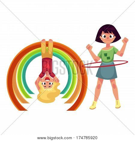 Two girls playing at playground, spinning hula hoop and hanging upside down on monkey bar, cartoon vector illustration isolated on white background. Girl friends having fun at playground