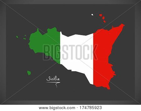 Sicilia Map With Italian National Flag Illustration