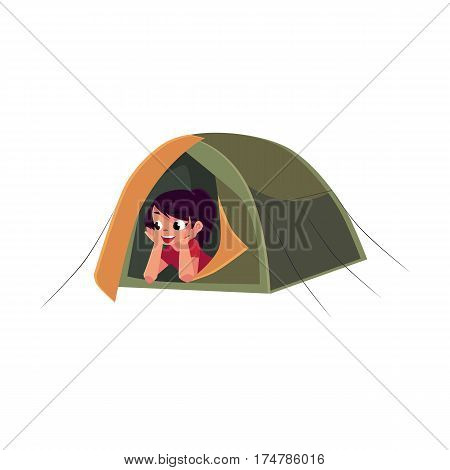 Teenage Caucasian girl looking out of tourist tent, camping, hiking concept, cartoon vector illustration isolated on white background. Girl scout, tourist lying in camping tent