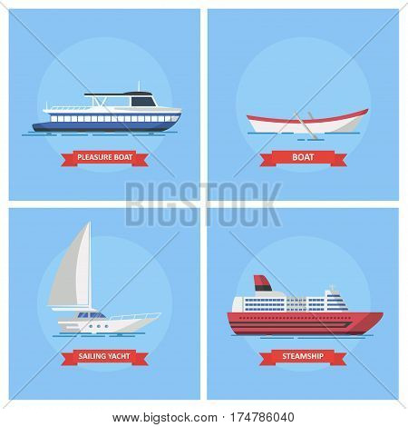 Icons of sea ships and boats. Pleasure boat, sailing yacht, boat and steamship. Marine and river transport in a flat style.