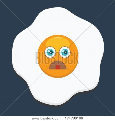 Fried egg with emoji. Flat and solid color design. Breakfast concept