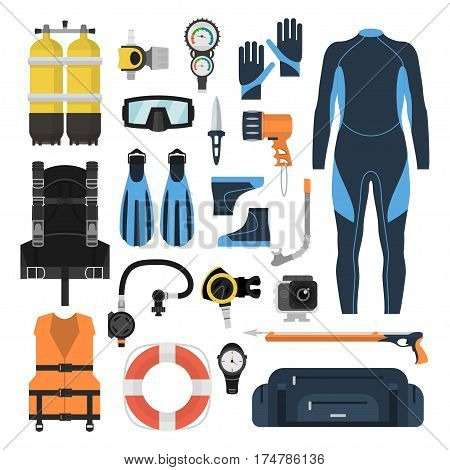 Equipment for diving in a flat style. Icons diving suit, an underwater mask, snorkel, fins and aqualung. Scuba gear and accessories.
