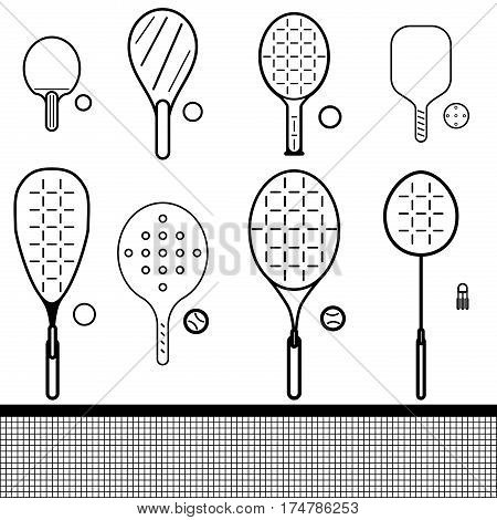 vector icons set of different game rackets balls and shuttlecock to play to badminton table and big tennis beach and platform tennis pickleball squash on white isolated backgrounds