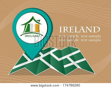 map with pointer flag Ireland vector illustration eps 10.