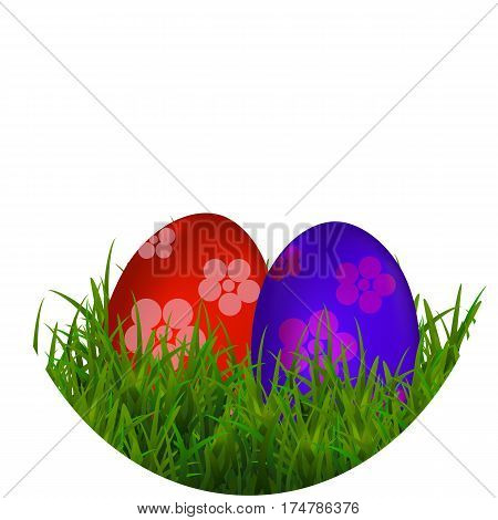 Happy Easter Vector Typography background with place for your text message with colored eggs and green grass on the white background. Vectos Illustration EPS10