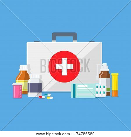 Doctor's bag, surrounded by tablets, pills, drugs and medical bottle. The concept of emergency or ambulance. Pharmaceuticals and pharmaceutical preparations.