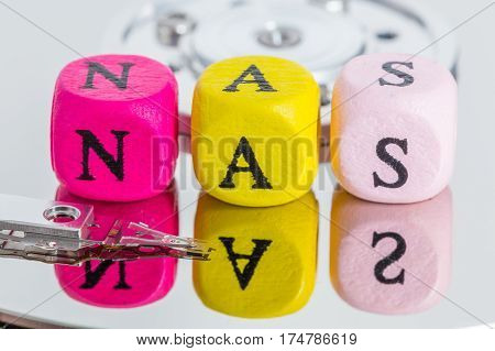 NAS letter cubes on harddisk concept background