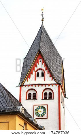 The Johanniskirche -Romanesque Tower 11th century dedicated to John the Baptist in Nassau an der Lahn, Germany