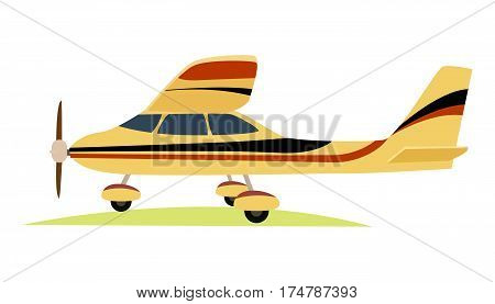 Modern yellow aeroplane on white background vector illustration in flat style. Powered and fixed-wing aircraft which is work due to propeller or jet engine. Plane has three wheels, wings and rudder.