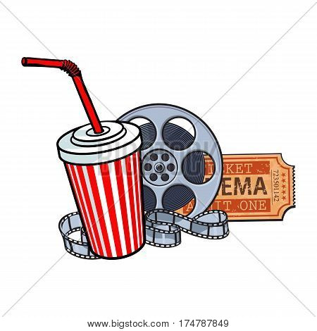 Cinema attributes - retro style film reel, ticket and soda water in paper cup, sketch vector illustration isolated on white background. Drink in paper cup, film reel, ticket, cinema attribute, object