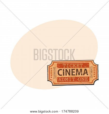 One retro style, vintage cinema, movie ticket, sketch vector illustration with place for text. Hand drawn cinema, movie ticket, pass, cinema object
