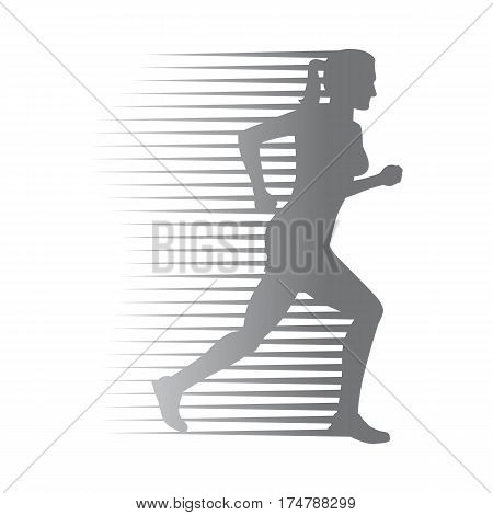Silhouette of isolated running woman on white background. Fast female person run on high speed. Sport lifestyle colourless vector illustration. Motion movement in cartoon style flat design