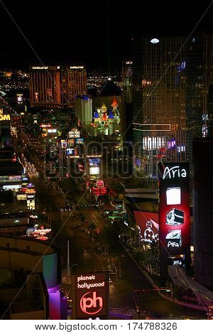 LAS VEGAS - Oct 09: Night Panorama of Las Vegas Boulevard The Strip. Hotels and casinos of Las Vegas gambling capital. Night life. Oct 09 2016 Las Vegas Nevada USA