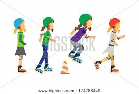 Roller skaters vector. Female characters in helmet, elbow, knee protection riding on roller skates. Sports equipment flat illustration. Summer fun and entertainments. For sport concepts, web design