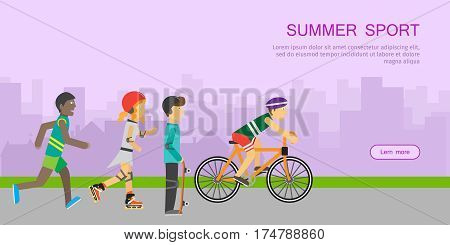 Summer sport. Children going in for sport at the sunset web banner. Teenagers on playground of urban city. Boy skateboarding, roller skate, guy on bike and runner. Active way of life concept. Vector
