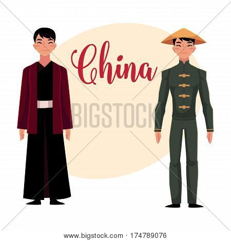 Chinese men in national costumes like long robe with jacket or buttoned tunic, pants and conical hat, cartoon vector illustration with place for text. People in Chinese national clothes