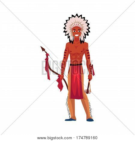 Native American Indian man in feather headdress, breechcloth and leather leggings, cartoon vector illustration isolated on white background. Native American, Indian man in national clothes