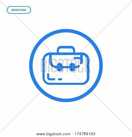Vector illustration of flat bold line briefcase or suitcase icon. Graphic design concept of portfolio. Use in Web Project and Applications. Blue outline isolated object.