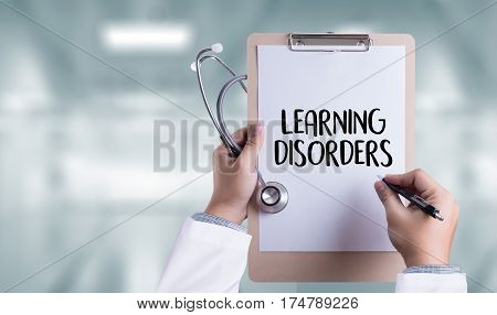 LEARNING DISORDERS ADHD medical Doctor concept abbreviation, adhd,