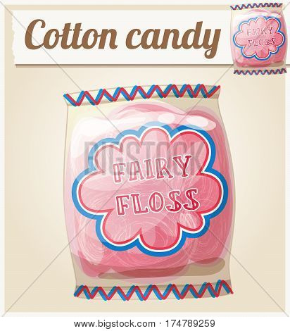Cotton candy Fairy floss in a bag. Cartoon vector icon. Series of food and ingredients for cooking