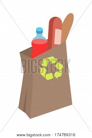 Shopping bag with daily products vector illustration. Make purchases in grocery store flat concept isolated on white background. Recyclable ecological paper package for purchases in supermarket