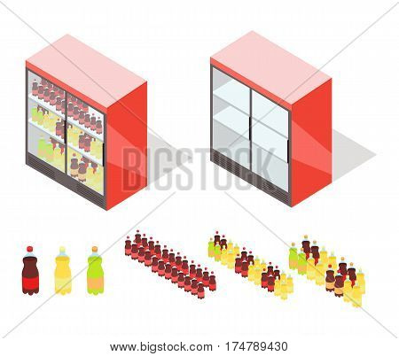Beverages in shop showcase isometric vector illustration. Carbonated drinks on supermarket fridge 3d model isolated on white background. Full and empty groceries rack isometry for game, app, icon, web