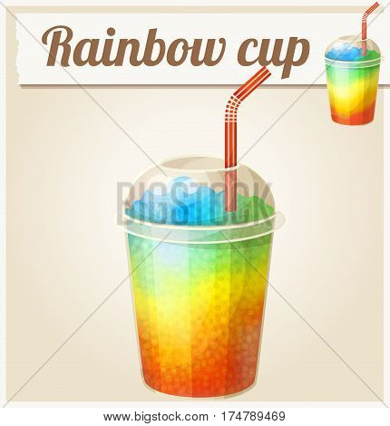 Rainbow ice cup Frozen drink. Cartoon vector icon. Series of food and ingredients for cooking